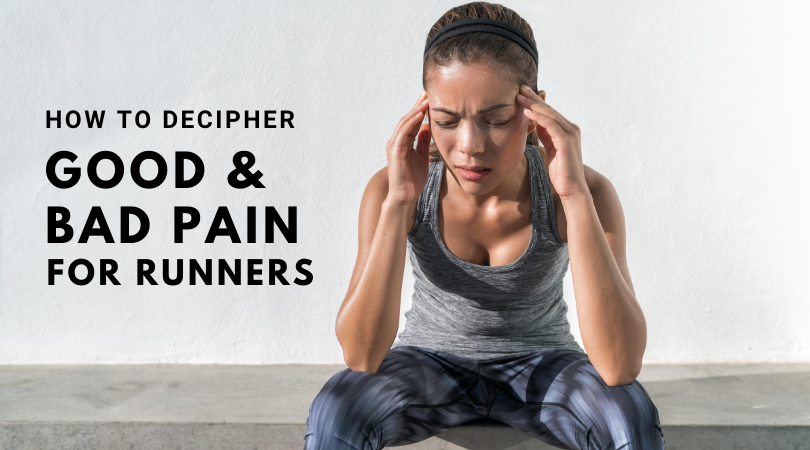 Runner in pain next to blog title good and bad pain for runners