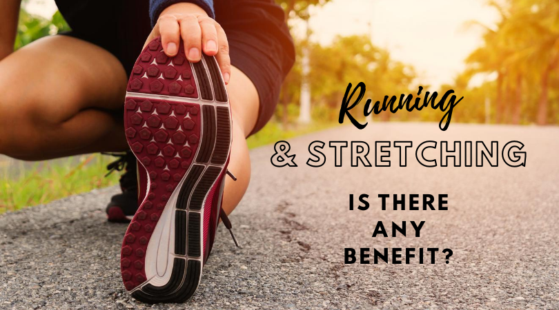 Runner stretching after running next to blog title text