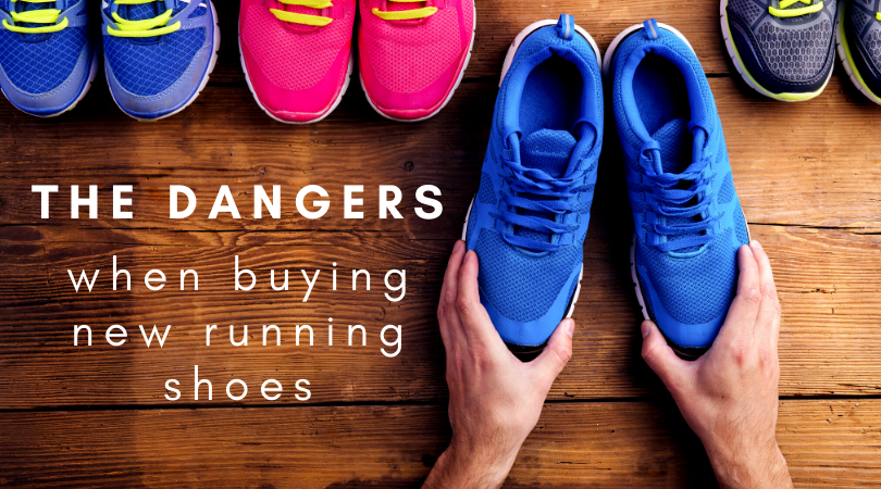 person buying new running shoes next to blog title