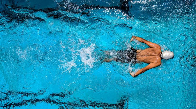 birds eye view of swimmer swimming