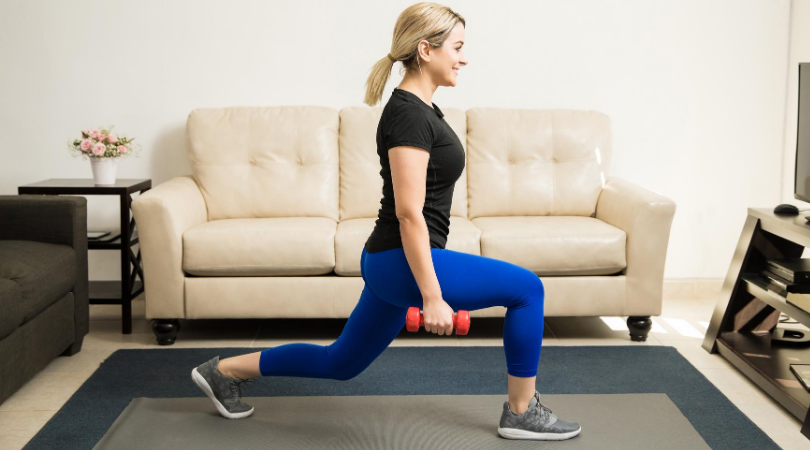 runner doing lunges at home