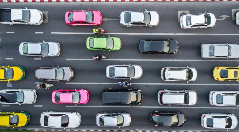 birds eye view of heavy traffic