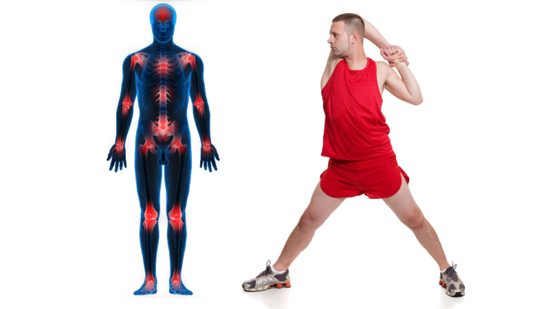Runner stretching next to a body chart